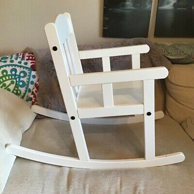 White Childrens Wooden Rocking Chair Ikea Sundvik Good Condition  • 6£