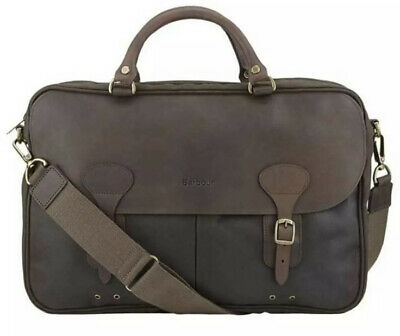 £194.99 • Buy Barbour Wax Cotton Leather Trim Briefcase Olive Bag Messenger New Tags Hobo Men