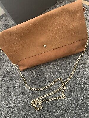 Tan Faux Leather/suede Clutch Bag With Chain Strap • 1.20£