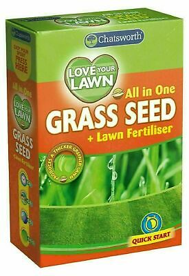 £5.99 • Buy All In One Love Your Lawn Quick Start Garden Grass Seed Quick Growth Fertilizer