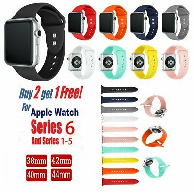 AU8.35 • Buy Silicone Bracelet Sports Band Strap For Apple Watch Series 6 5 4 3 38 40 42 44mm