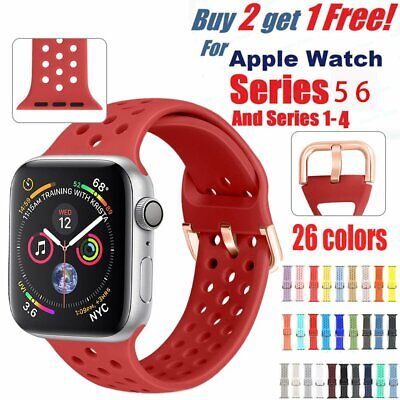 AU8.35 • Buy Silicone Strap For Apple Watch IWatch Sports Series 3/4/5/6 38/42/40/44mm Band