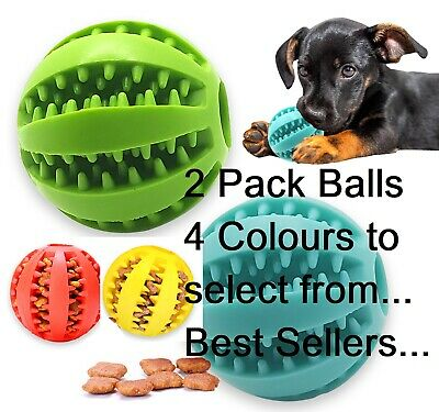 £7.69 • Buy 2 Pack Pet Ball Dog Balls Fetch Food, Teething Treat Clean Rubber Chew Puppy Toy
