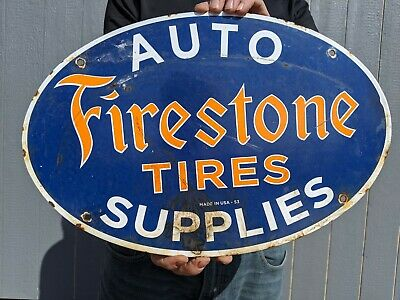 $ CDN64.70 • Buy Old Dated 1953 Vintage Firestone Tires Porcelain Gas Pump Oil Sign Auto Supplies