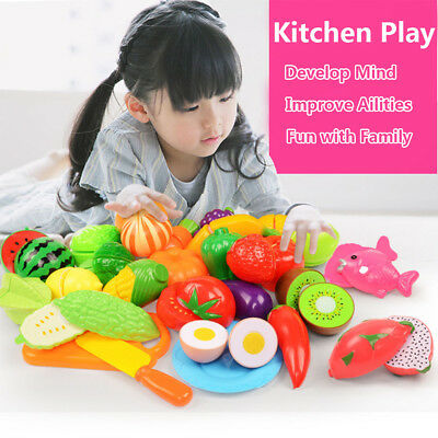 £10.49 • Buy 24Pcs Fruits Vegetable Food Toy Child Kids Kitchen Role Play Cutting Cut Toys