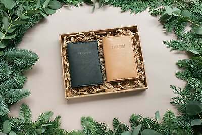 $77.80 • Buy Christmas Leather Gift Set. Set Of 2 Personalized Leather Passport Covers. FR...
