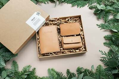 $49 • Buy Christmas Leather Gift Set. Set Of Personalized Leather Passport Cover, Cardh...