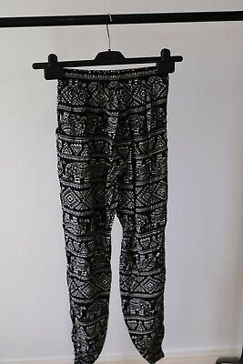 £2 • Buy Harem Travel Patterned Black And White Trousers Womens Small