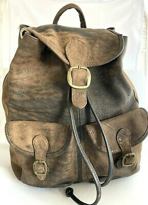 AU278.66 • Buy Vtg 90s Hobo International Distressed Leather Brass Buckle Backpack/Bag Colombia