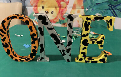 £14.99 • Buy Wooden Letters ONE  Hand Painted With  Animal Print Vinyl Stickers