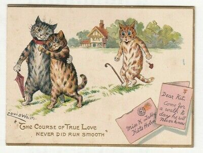 £24.99 • Buy Louis Wain Cats Greeting Card The Course Of True Love NOT A POSTCARD Antique
