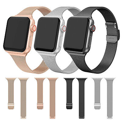 AU13.59 • Buy For Apple Watch Series 6 5 4 3 Slim Stainless Steel Milanese Strap Band 40 44mm
