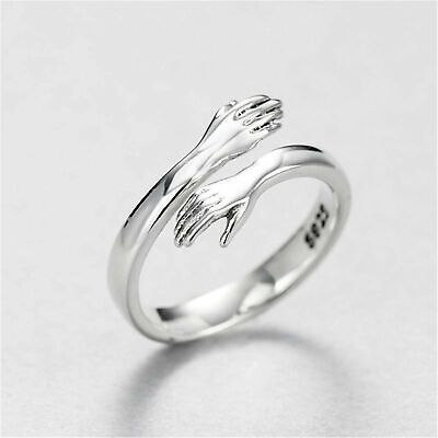 £3.98 • Buy 2PCS Couple Hug Ring 925 Sterling Silver Rings Adjustable Open Ring Lover Gift~