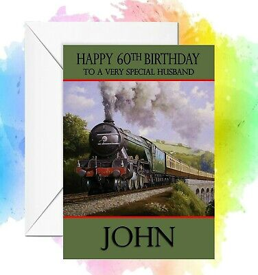 £2.95 • Buy Personalised Birthday Card Flying Scotsman Steam Train  Any Name/relation/age
