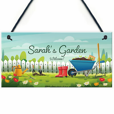 £5.99 • Buy Garden Plaque Hanging Outdoor Sign Personalied Gift For Her Mum Nan Nanny Gift