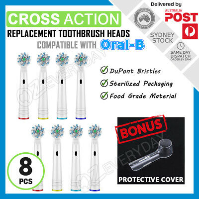AU11.50 • Buy CROSS ACTION Oral-B Electric Toothbrush Compatible Replacement Brush Heads X8