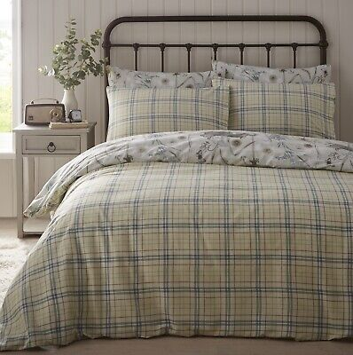 £19.95 • Buy Tartan Check Duvet Cover Bunny Rabbit Quilt Bedding Bed Set Two Sided King Green