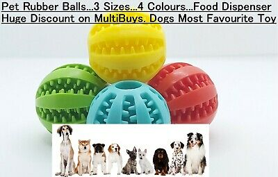 £5.45 • Buy Pet Ball Dog Rubber Ball Fetch Food, Teething Treat Clean Durable Chew Puppy Toy