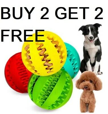 £5.49 • Buy Pet Ball Dog Treat Ball Durable Chew Teething Treat Clean Puppy Toy Buy 2 Get 4