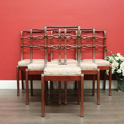 AU850 • Buy Set Of 6 Dining Chairs, Kitchen Chairs With Brass Inlay And Carved Back Rails