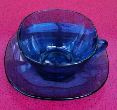 £45 • Buy Vereco Blue Glass French Coffee Cups And Saucers X 6 Vintage