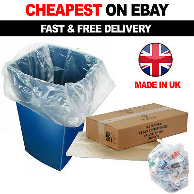 £11.90 • Buy 100 X Clear Refuse Sacks 140G Large Bin Liners Rubbish Waste Recycling Bags 90L