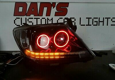 AU1170 • Buy Toyota Hilux N70 Black Projector Headlight 07/2011-2015 Multicolored Halo & DRL