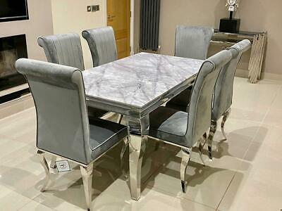 £359.95 • Buy Louis Black Glass Grey Marble Dining Table Set Chrome Legs And Velvet Chairs