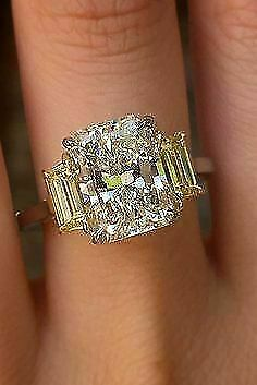 Yellow Canary White Diamond 14.54 Ct 925 Sterling Silver Ring Engagement Wedding • 108.17£