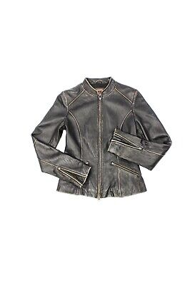 $ CDN165 • Buy DANIER Distressed Brown Leather Cafe Racer Motorcycle Moto Jacket, Size XS