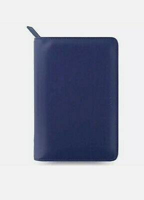 £29 • Buy Filofax Metropol Personal Zip Organiser Navy Blue Smooth Leather Look Cover