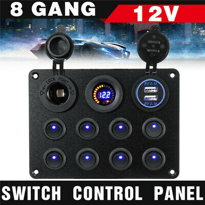 AU34.79 • Buy 8 Gang 12/24V Dual USB Switch Panel With Voltmeter For Car RV Boat Marine Truck