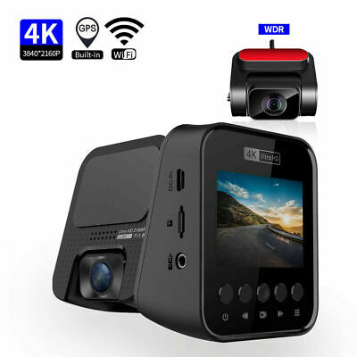 AU184.30 • Buy 4k Dash Cam Built In Gps Wifi Car Camera For Front And Rear Cam Video Recorder