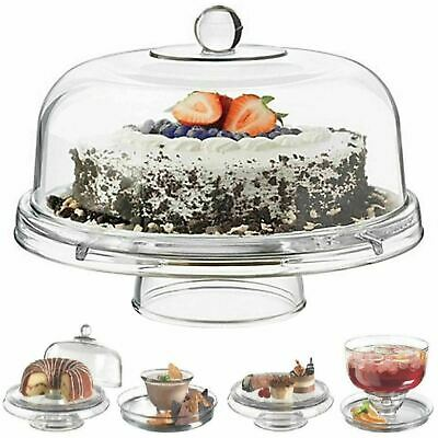 £19.99 • Buy Multi Functional 6in1 Clear Cake Stand Dome Platter Dip Server Punch Salad Bowl