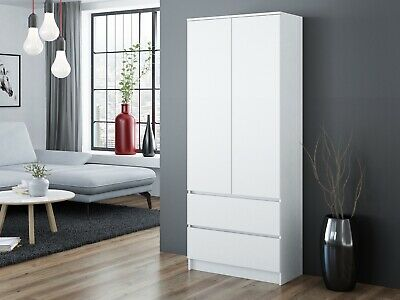 £169.99 • Buy MODERN 2 Door Storage Wardrobe With Shelves And 2 Drawers - White