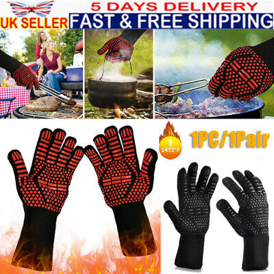 £14.25 • Buy Oven Glove Heat Resistant Heat Proof Silicon Mitts For Cooking Baking Protective