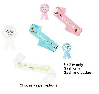 £4.95 • Buy BABY SHOWER SASH Mummy  Mommy To Be Nanny Daddy Sister White Pink Blue Gold