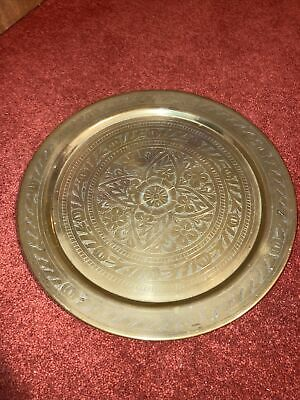 £17.99 • Buy Vintage Embossed Brass Wall Plate Serving Tray Boho Home Retro Indian Decor