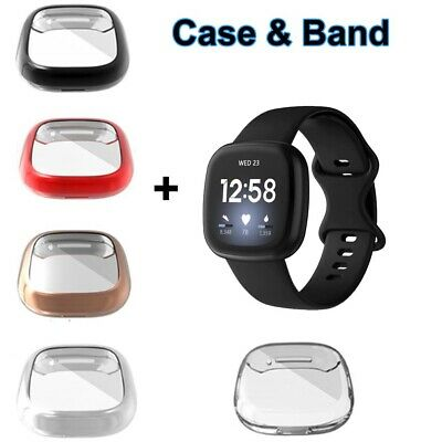 $ CDN11.15 • Buy Silicone Watch Strap Band + TPU Protective Case Cover For Fitbit Versa 3 / Sense