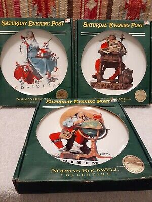 $ CDN35.18 • Buy Norman Rockwell Plate Christmas 1998  'santa's  25th In Series W/coa Lot (3)