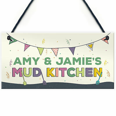 £4.99 • Buy Childs Mud Kitchen Sign Personalised Garden Sign Multicoloured Son Daughter Gift