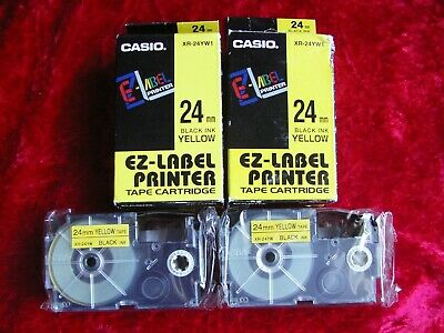 £17.50 • Buy 2 Off Packets Casio XR-24YW1 24mm Black Ink On Yellow Ez-label Printer Tape.
