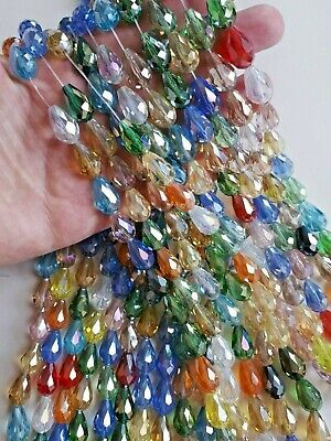 £3.85 • Buy 27 Pcs Strand Teardrop Faceted Glass Crystal Beads Quality Mixed Colour 15x10mm