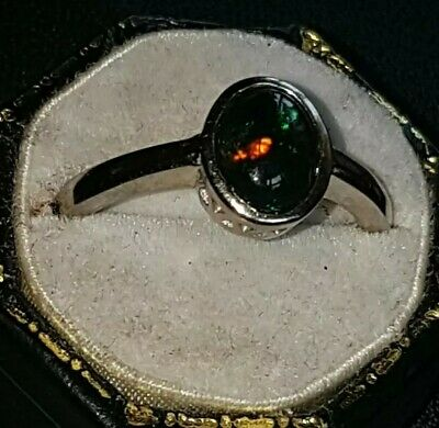 £74 • Buy Black Opal Ring Oval Cabochon In 925 Quality Galleried Mount Sz 0.