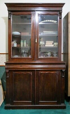 AU2500 • Buy Antique William IV Bookcase - Early 1800's.  Mahogany Display Cabinet
