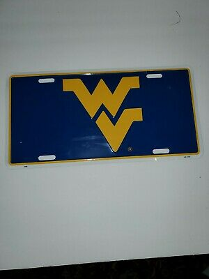 $ CDN10.87 • Buy West Virginia University WVU WV Tin License Plate Gold On Blue Go Mountaineers