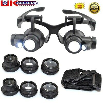 £8.19 • Buy Magnifier Magnifying Eye Glass Loupe Jeweler Watch Repair Kit With LED Light 25X