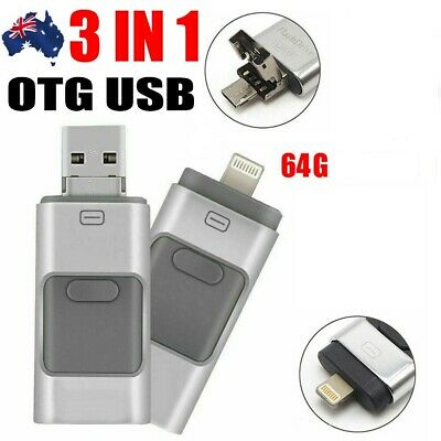 AU9 • Buy 3 IN 1 64GB USB Flash Drive Disk Storage Memory Stick For IPhone PC IOS Android