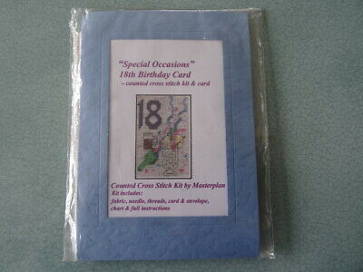 £5 • Buy Masterplan Counted Cross Stitch Card Kit 18th Birthday