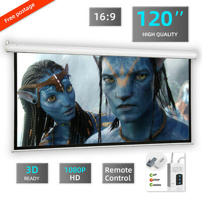 £99.99 • Buy 120  16:9  Electric Projector Projection Screen Motorised  3D HD Ready UK